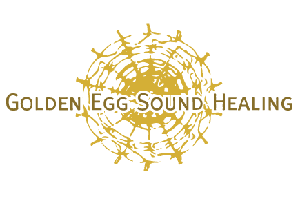 Golden egg sound healing logo - Transparant background